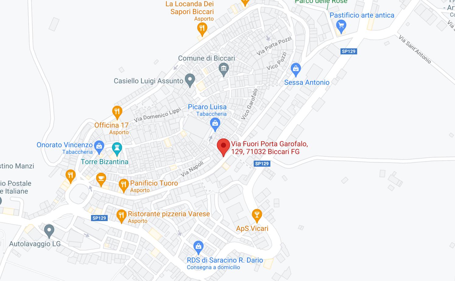 mappa di biccari della via porta garofalo